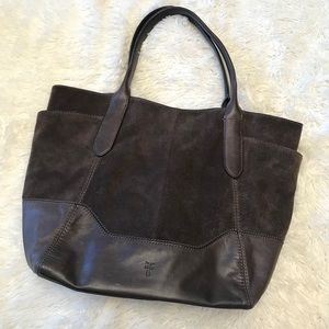 Frye Paige Leather & Suede Tote Shoulder Bag Brown